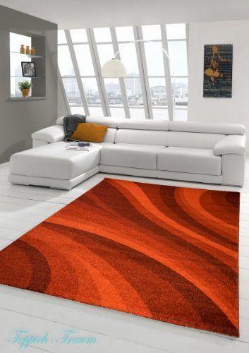 Designer Teppich Moderner Wohnzimmer Velours Kurzflor Mit Winchester Wellen Muster In Rot Grsse