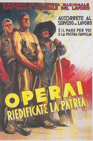Manifestino di propaganda Fascista,chiamata  al lavoro per i cittadini italiani.