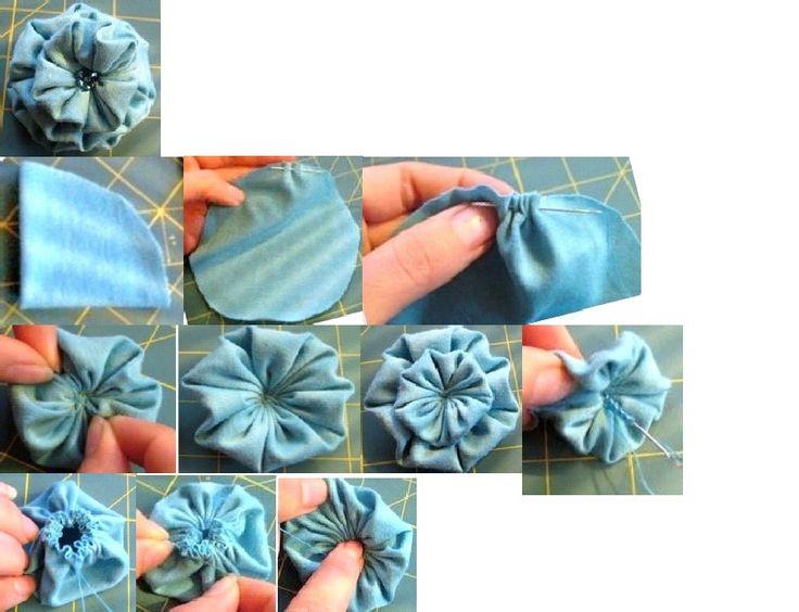 fabric flower using a yo-yo technique
