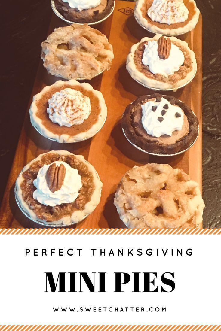 Mini pies are perfect for Thanksgiving! Pumpkin pie, pecan pie, chocolate pie! S…
