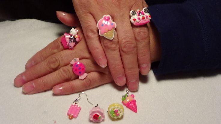 """Manualidad: Aretes y anillos """"Cup Cake"""""""
