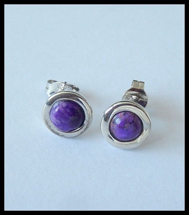 Sugilite Stud Earring 925 Silver Earring Jewelry,6cts  NATURAL SHELL GEMSTONE EARRINGS GEMSTONE  , FROM GEMROCKAUCTIONS.COM