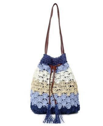 Female Handmade Handbags Tassel Knitting Bag Straw Woven Beach Package Vacation Seaside Must-pack Hollow Out Bag 4 Color