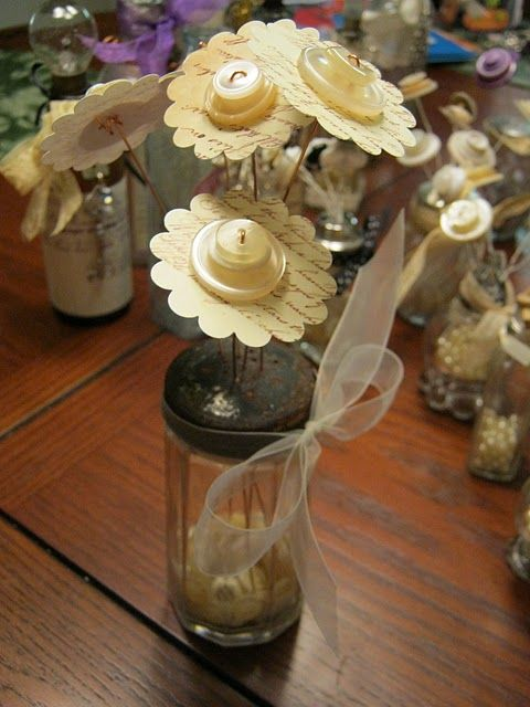 repurposed salt shaker. Another button project. Love the neutral color and the old salt shaker.