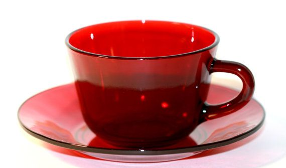 Anchor Hocking Glassware Cup and Saucer Royal Ruby Red Glass 1 Set by VintageTerrace