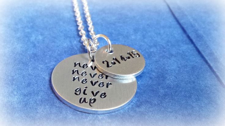 Survivor Necklace / Never Give Up / Anniversary Necklace / Personalized Date Necklace / Inspirational Pendant / Sobriety Jewelry / Custom - pinned by pin4etsy.com