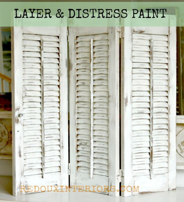 How to Layer and Distress CeCe Caldwell's Paints using a damp rag.  Very easy method, 1,000's of combinations.  Nantucket Spray and Vintage White on Old Shutters.