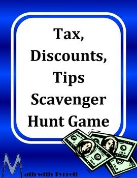 Do you need to get students excited about tax, discounts, and tips? This scavenger hunt game is always a favorite with my 6th graders!  Middle school math