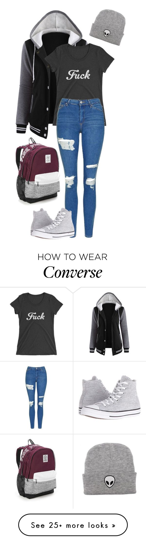 """""""F#ck"""" by abbey-jp on Polyvore featuring Topshop, Converse and Victoria's Secret"""
