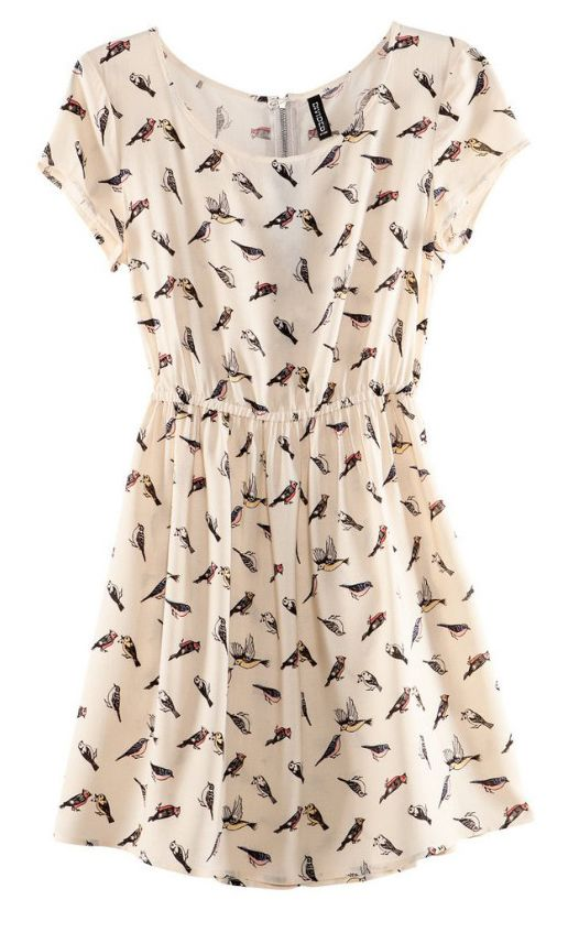 White Bird Print Chiffon Tunic Dress. I've seen a similar dress at H and M, but nothing seems to fit me right. I'll find me my bird-print dress yet!