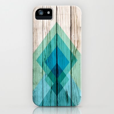 Aztec tribal chevron design on wood background blue mint green iPhone & iPod Case by Mercedes - $35.00