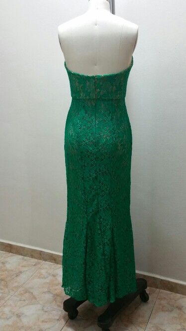 Back side - green lace dress