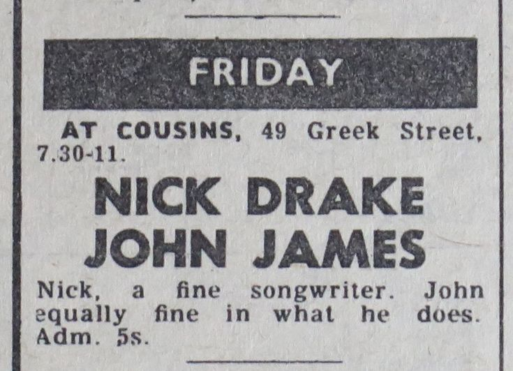 Nick Drake live @ Cousins, Soho 1969 w. John James