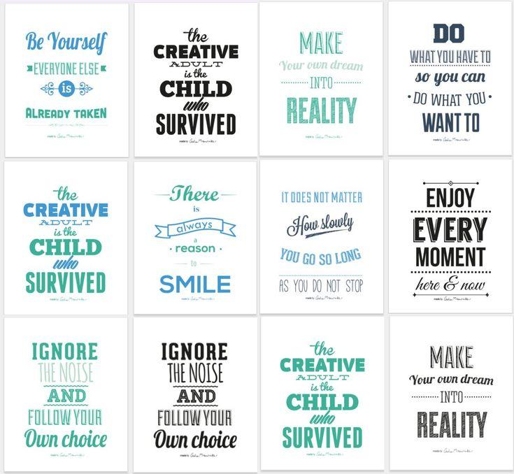 Darmowy zestaw typograficznych plakatów! Pobierz swój komplet http://www.ewelinamierzwinska.pl/blog/zainspiruj-sie-typograficzne-plakaty-motywacyjne-do-pobrania/