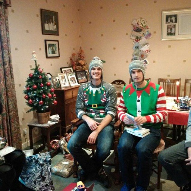 Andy, right, and Jamie Murray get into the festive spirit as they don Christmas outfits wi...