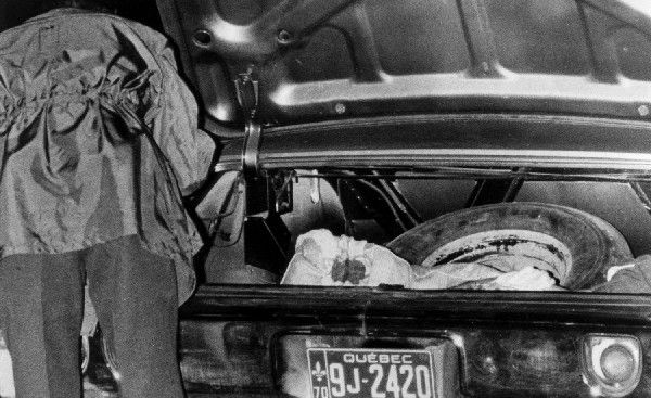 1970 - Quebec Crisis - The body of Quebec labour minister Pierre Laporte in the trunk of a car was one which shocked the normally-aplomb nation to its core. On Oct. 17, 1970, a week after he was being kidnapped by the terrorist group Front de Libération du Québec (FLQ) during the October Crisis, Laporte's body was found at the St. Hubert Airport south of Montreal. It was the first political assassination in Canada since the murder of Thomas d'Arcy McGee a century earlier.
