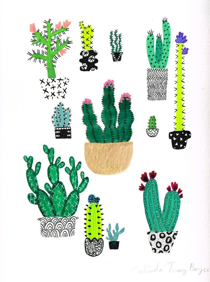 Cacti Pots Original Painting by CactusClub on Etsy