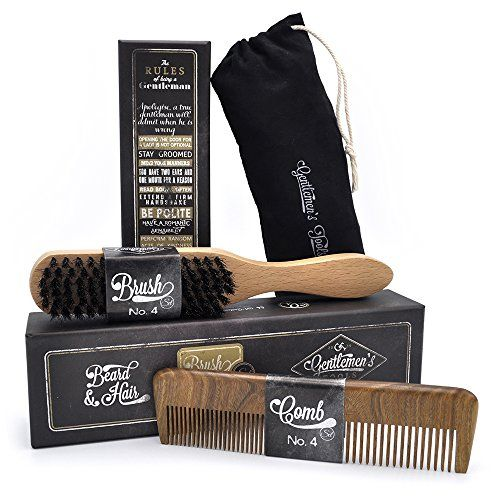 Hair & Beard Comb  Brush  SET  for Men Sandal Wood COMB 100% Natural Boar Bristle BRUSH Best for Grooming Facial and Head Hair use with Balm Oil and Wax Packaged in Premium Giftbox