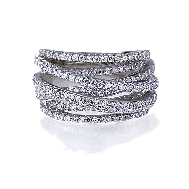 Rhodium Plated Sterling Silver Intertwined Design CZ Right Hand Ring 13.5mm >>> You can find out more details at the link of the image. (This is an affiliate link and I receive a commission for the sales)