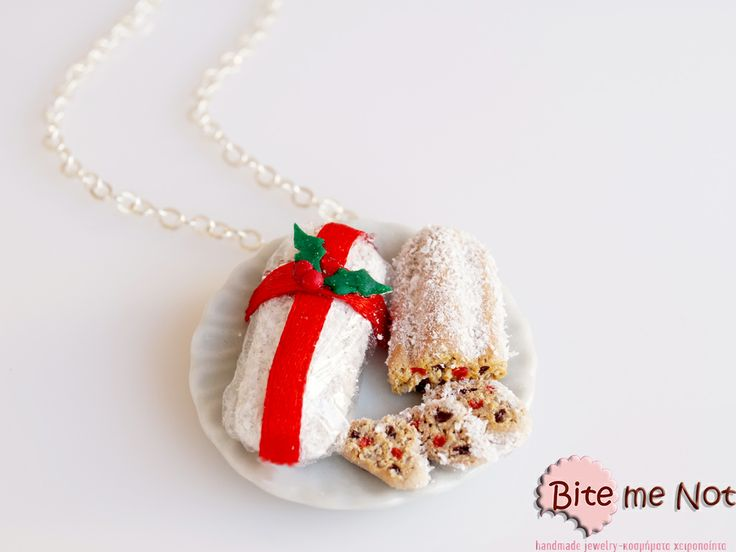 ''Christmas stollen cake'' -Silver plated long chain necklace!  -Round ceramic plate with two christmas cakes! The one is perfectly wrapped with red satin ribbon and a decorative mistletoe and the other is there for you to taste! With fruitty taste!