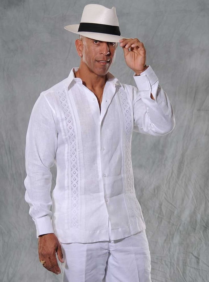 Unique Guayabera. Exclusive Guayaberas Cubanas Design. Only Here ! (2 weeks) - Premium Hight Quality Italian Linen Guayabera. Exclusive Guayaberascubanas design.These Mexican wedding shirts are long sleeves with French cuff, DO NOT come with cuff links. Cuff Links available in this web. Dry Clean for best result. A classic an sublimely soft Linen 100 %. Availability is subject to change, Maybe requires approximately  2-3 weeks to receive. PANTS available.