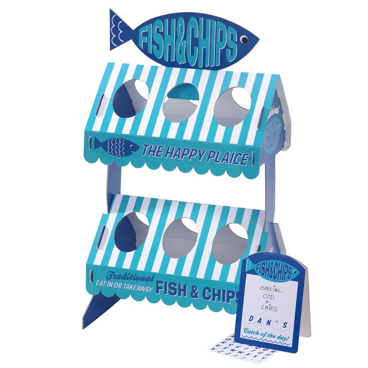 Designer Party Supplies - Talking Tables Fish & Chips Street Stand - coming to a beach party near you this summer!  Create your very own beach themed party with a traditional party size Fish & Chip Stall.  #designerparty #kidsparties #summer #talkingtables #littlebooteek