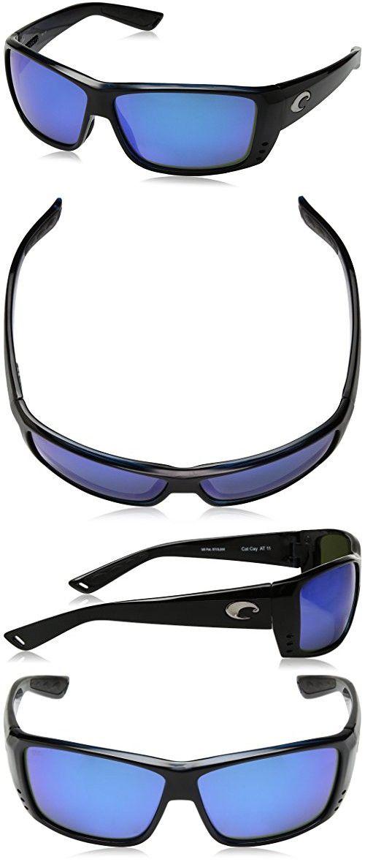 ea3abd695b03 Costa Del Mar Cat Cay Sunglasses, Black, Blue Mirror 580 Glass Lens ...