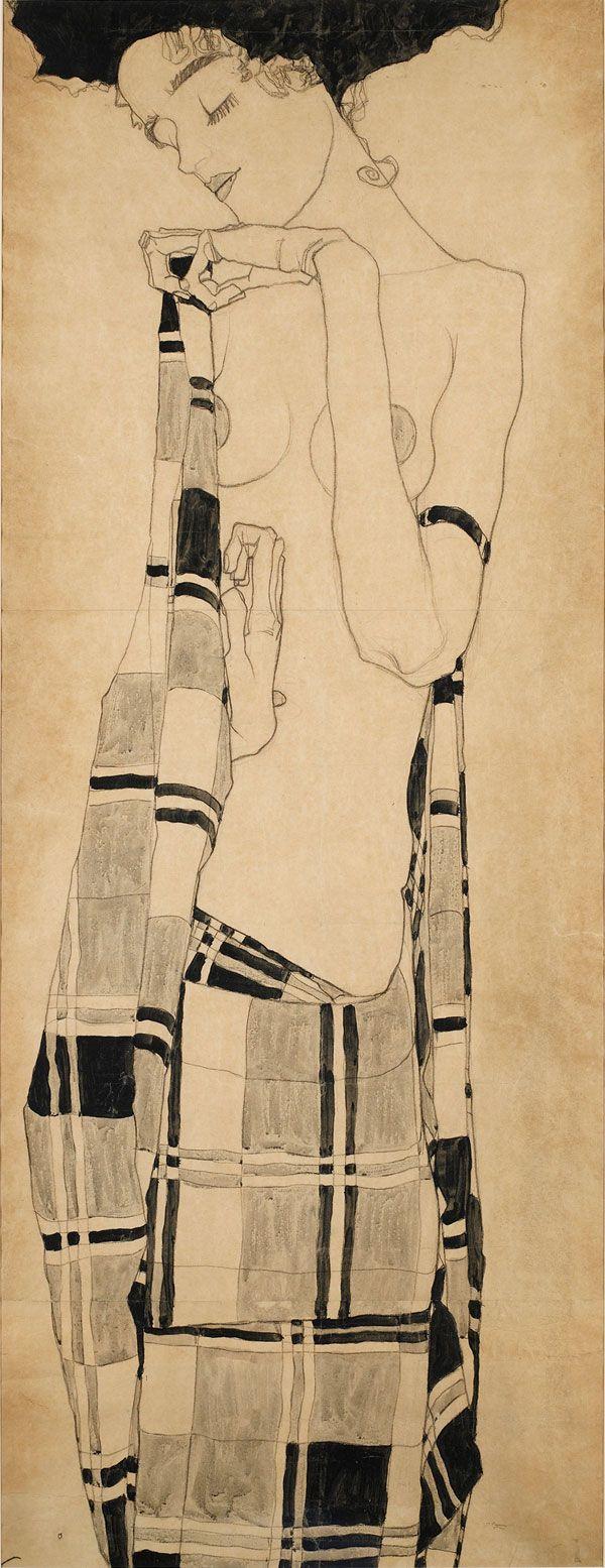"""ein-bleistift-und-radiergummi: """"Egon Schiele 'Gerti Schiele in a Plaid Garment', ca. 1908-1909. """""""