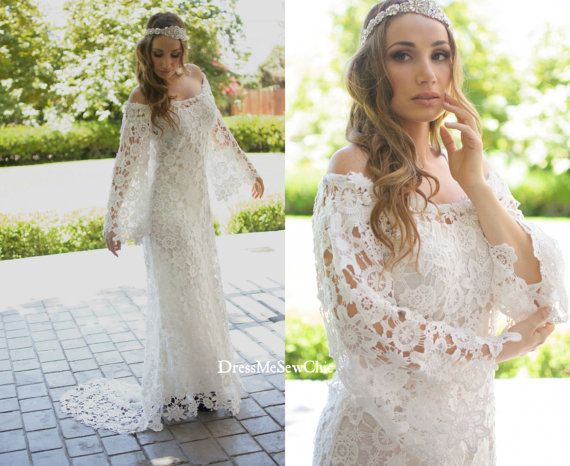 Sample Sale Size M-L: Off White Lace Gown, Off Shoulder Gown, Train Lace Dress, Bohemian Wedding, Beach Wedding, Dressmesewchic