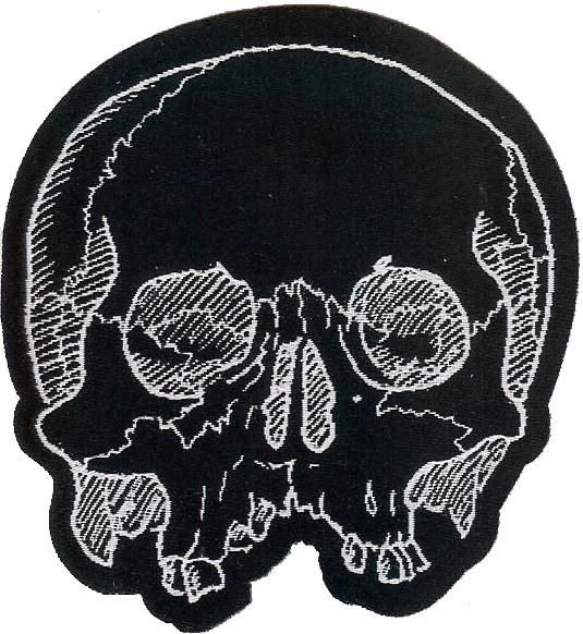 Cut out Jawless Skull, high quality woven fabric patch for sewing onto garments and accessories.