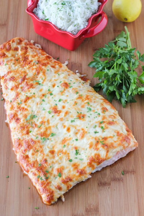 Parmesan Baked whole fillet of Salmon- use just a thin layer of the mayo mixture, also dice and add onions to mixture