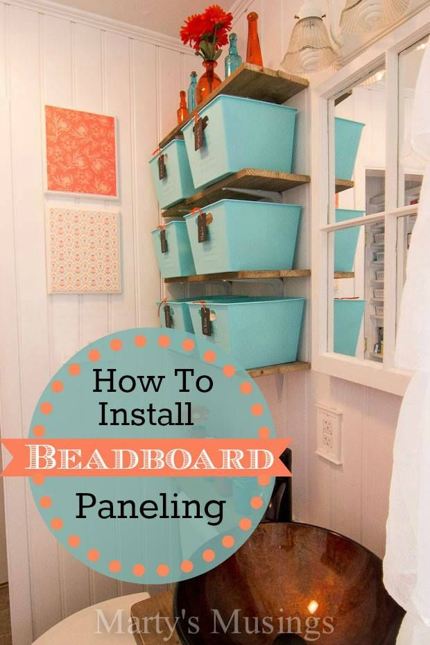 Step by step DIY tutorial on how to install beadboard paneling in a bathroom, including tips and tricks on using a template, painting and finish work.