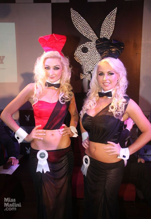 Two platinum blonde Playboy bunnies wearing the Indian ...