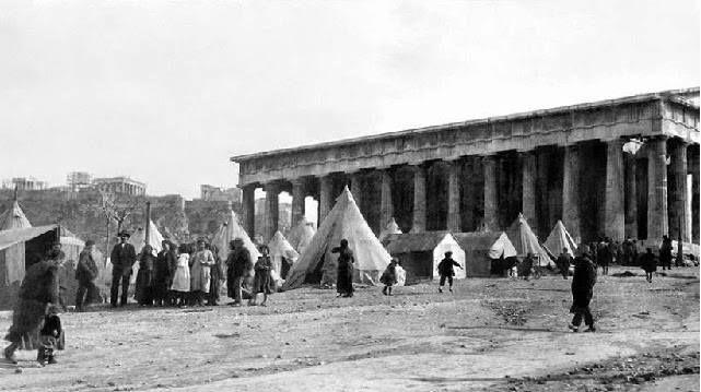 αντίσκηνα προσφύγων εκ Μικράς Ασιας 1922 έξω απ το Θησείο..