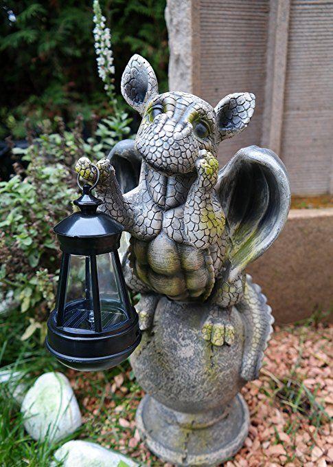 Drachenkind Auf Kugel Mit Solar Laterne Drache Figur Gargoyle