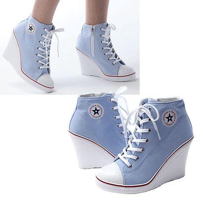 Nuevo Para Mujer Zapatos De Lona Alta Top tacón de cuña Con Encaje Moda Zapatillas Us 5.5 ~ 8