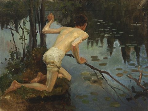 Albert Edelfelt (Finnish, 1854–1905) -  Young Man, study for the painting La Sirene (Young Man and Mermaid, 1897) , ca. 1896–1897, oil on canvas, 45.5 x 60 cm. (17.9 x 23.6 in.)