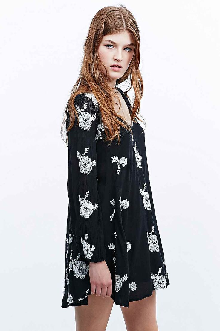 Free People Floral Tunic Dress in Black
