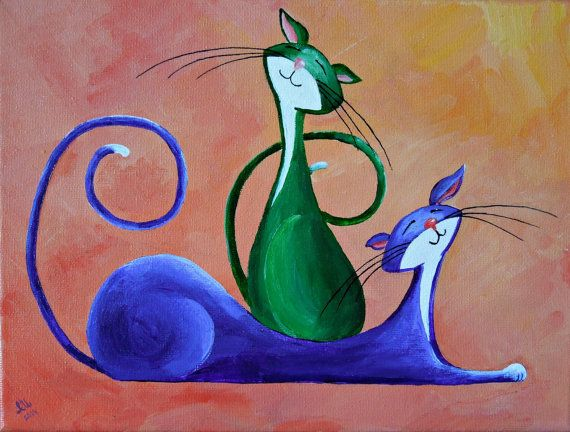 "Original Cat Painting for Sale : Fantasy Cats  ""Two Merry Cats"""