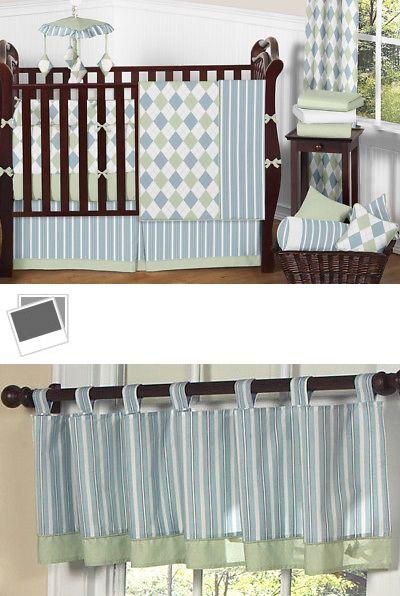 Nursery Bedding Sets 162040 Modern Argyle Blue Green Boutique Baby Boy 9pc Crib Set