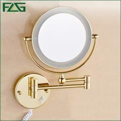 """[ 20% OFF ] Golden Brass Led Light Makeup Mirrors 8"""" Round Dual Sides 3X /1X Mirrors Bathroom Cosmetic Mirror Wall Mount Magnifying Mirror"""