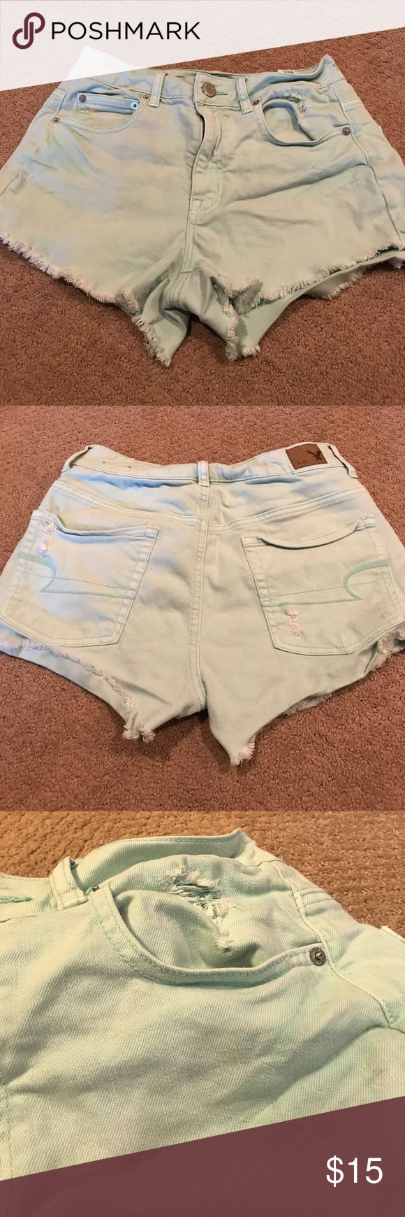 High waisted mint green shorts size 6 stretch American Eagle high waisted shortie mint green. Size 4. Perfect condition. First two pictures don't give the color justice. In the third picture you can see the color a little better. American Eagle Outfitters Shorts Jean Shorts