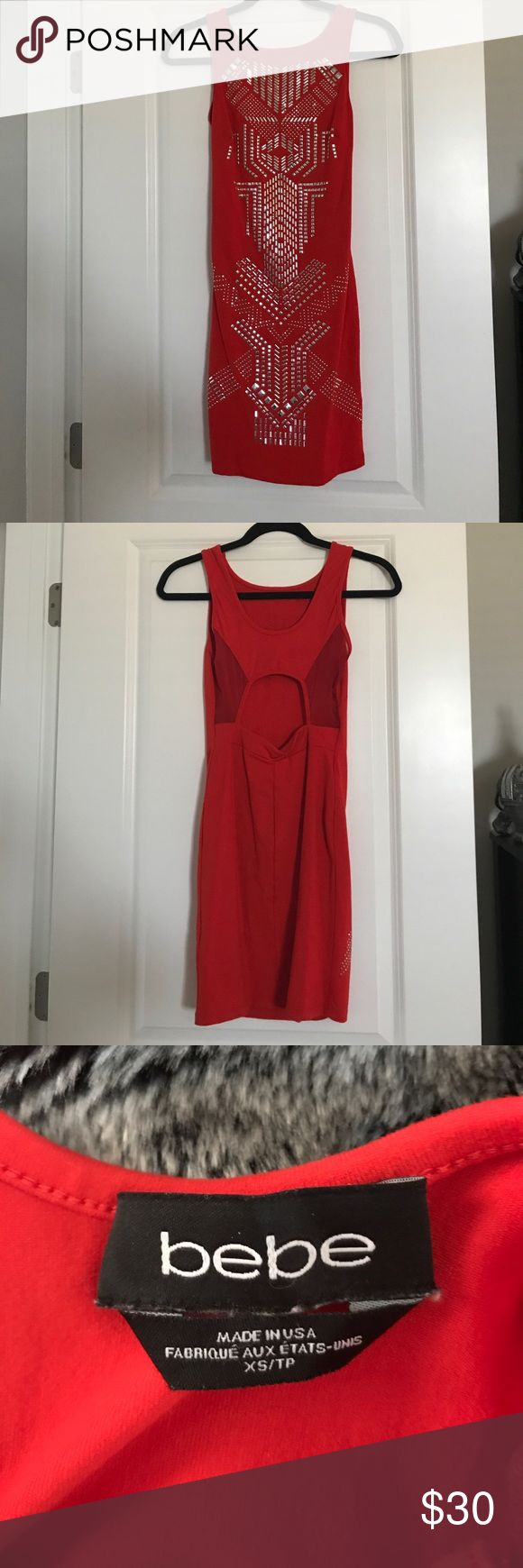 Bebe Mini Dress! EUC Sz. Xs Red and silver Mini Dress! Hardly Worn! bebe Dresses Mini