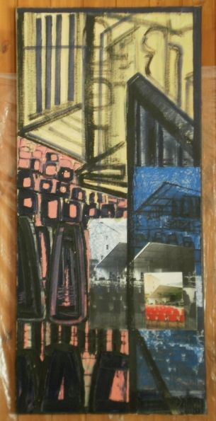 Scenia di un palco olio, cartone, elemento fotografico 50x109