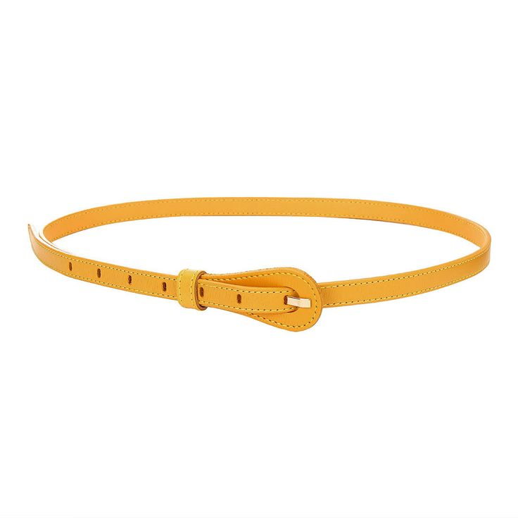 Textured Leather-look Skinny Waist Belt in Yellow