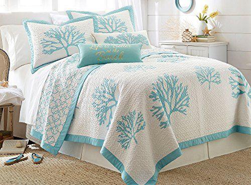 Elise Amp James Home Wild Coral Quilt Set Bedding King Aqua