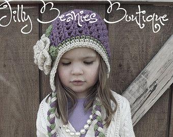 Niña sombreros, sombrero del ganchillo de la flor, gorros Jilly Boutique, sombrero morado, gorrita tejida de la flor, sombrero del bebé, sombrero de los niños, los niños sombrero, niño, sombrero del ganchillo