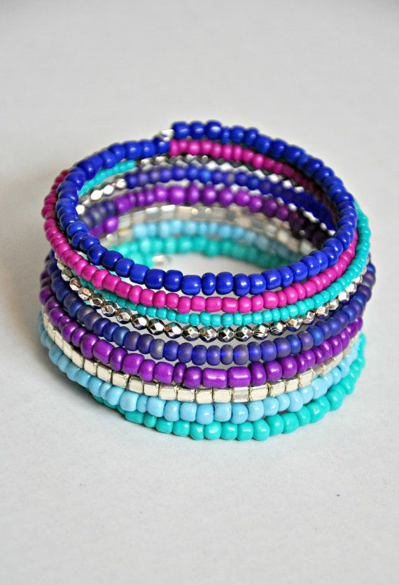 Blue TurquoisePurple & Silver Boho Wrap by HoleInHerStocking memory wire bracelet, seed bead bracelet, boho, hippie, friendship bracelet, mermaid