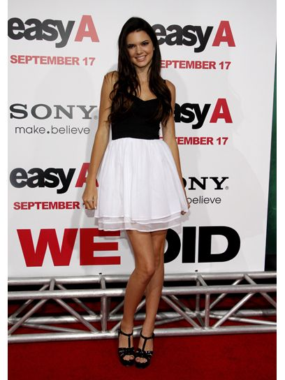 Attending the Easy A Los Angeles Premiere in 2010, Kendall looks simply sweet in a basic black and white dress.