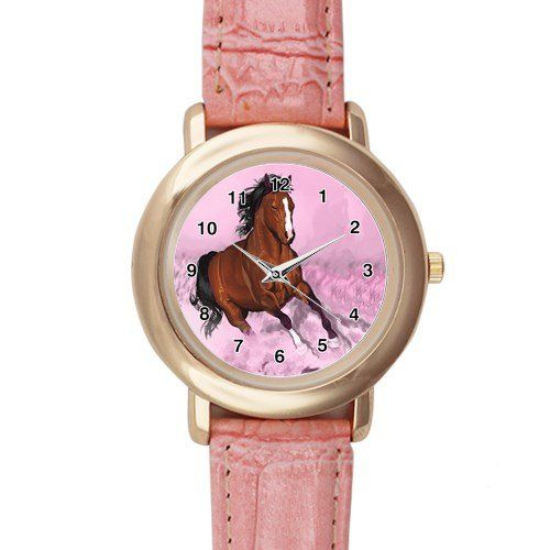 New+Custom+Horse+Pink+Leather+Watch